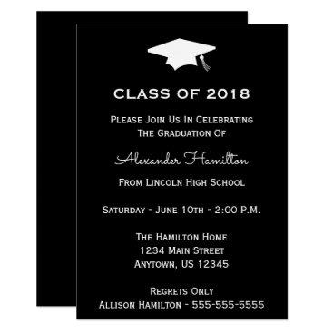 Class Of 2018 Cap Graduation Invitation (Black)