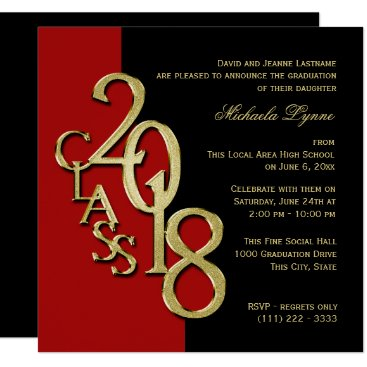 Class of 2018 Elegant Gold and Red Invitation