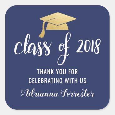 Class Of 2018 Faux Gold Foil Graduate Hat Square Sticker