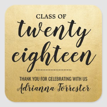 Class Of 2018 | Faux Gold Foil Graduate Thank You Square Sticker