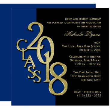 Class of 2018 Grad Midnight Blue and Gold Card