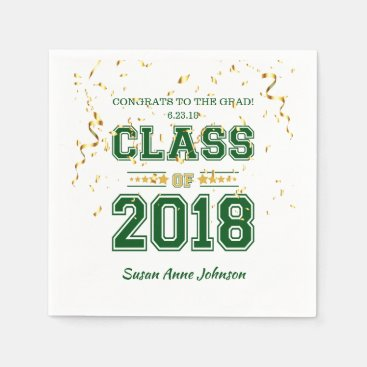 Class of 2018 Grad Party  Green and Yellow Napkin