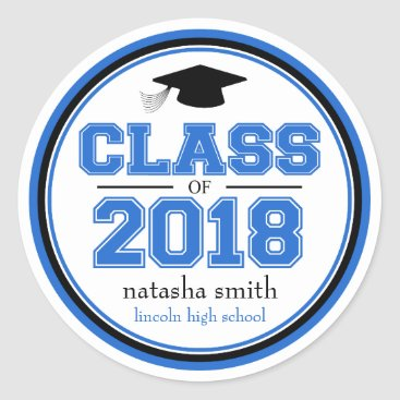 Class Of 2018 Graduation Favor (Blue / Black) Classic Round Sticker
