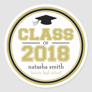 Class Of 2018 Graduation Favor (Gold / Black) Classic Round Sticker