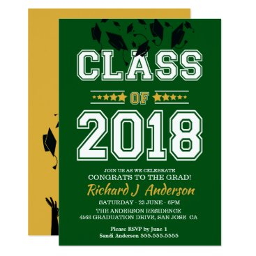 Class of 2018 Green and Yellow Grad Party Invitation