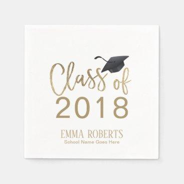 Class of 2018 Modern Gold Script Graduation Party Paper Napkin