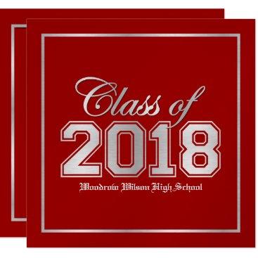 Class of 2018 Premium Red / Silver Graduation Invitation