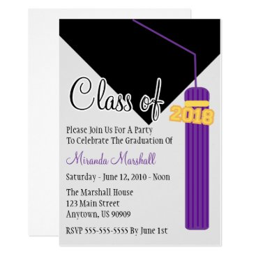 Class Of 2018 Tassel Graduation Invite (Purple)