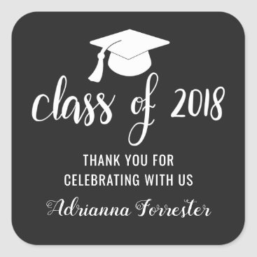 Class Of 2018 Typography Graduate Hat | Thank You Square Sticker