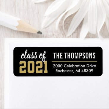 Class of 2021 Black Gold Graduation Return Address Label