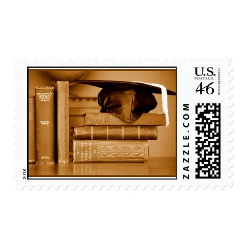 Classic Books on Graduation Day stamp