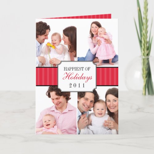 Classic collage red striped band Christmas photo card