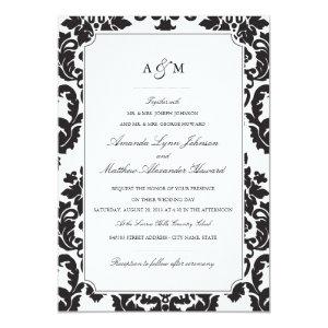 Modern gothic wedding ideas and customized black damask stationery classic damask wedding invitation filmwisefo Choice Image