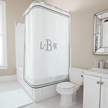 Classic Gray Border Monogrammed Shower Curtain