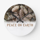 Classic Holiday Pine Cone Peace On Earth Round Wallclock