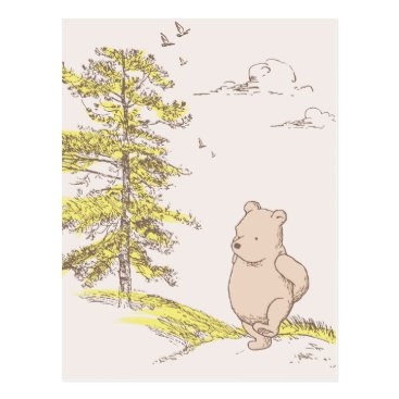 Classic Pooh Walking in the Woods Postcard