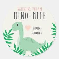 Classroom Valentine Dinosaur Stickers