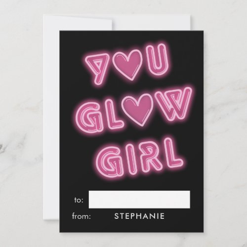 Classroom Valentines You Glow Girl Neon Sign Holiday Card