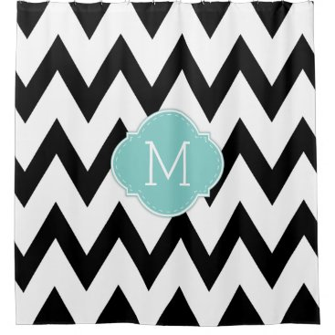 Classy Black and White Chevron with Monogram Shower Curtain