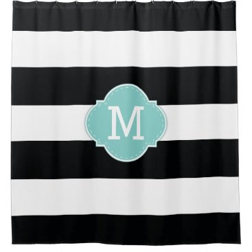 Classy Black and White Stripes with Monogram Shower Curtain