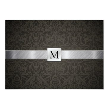 Classy Black Damask and Metallic Silver RSVP Card