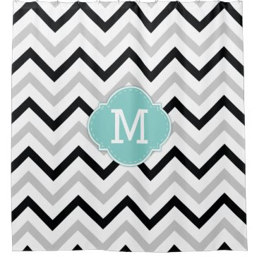Classy Black, Grey and White Chevron with Monogram Shower Curtain