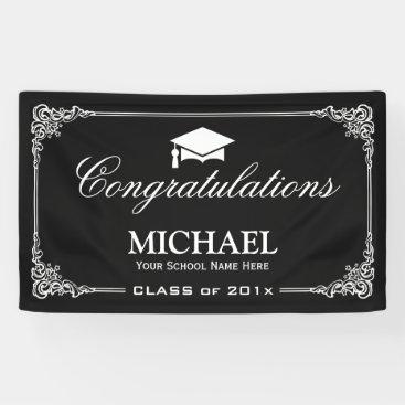 Classy Black White Vintage Frame Graduation Party Banner