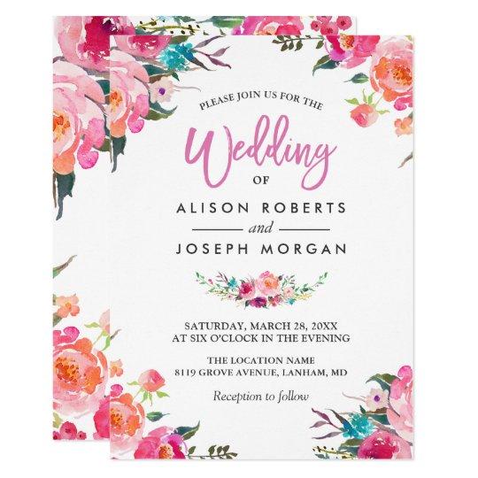 Classy Fl Blossom Watercolor Flowers Wedding Invitation