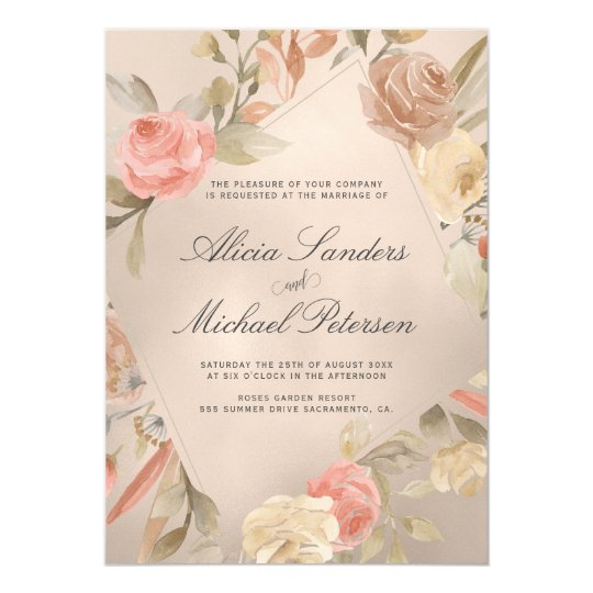 Classy Glam Peachy Gold Hand Painted Roses Wedding Invitation