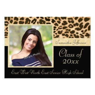 Classy Leopard Print Photo Graduation Announcement