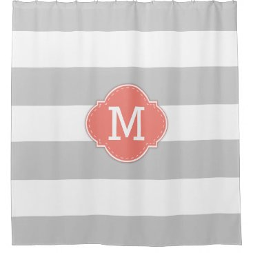 Classy Light Grey and White Stripes with Monogram Shower Curtain