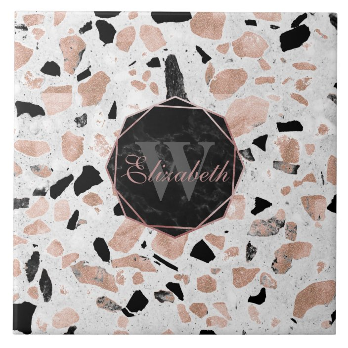 classy rose gold vintage marble abstract terrazzo tile zazzle com