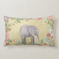 Classy Watercolor Elephant Floral Frame Gold Foil Lumbar Pillow