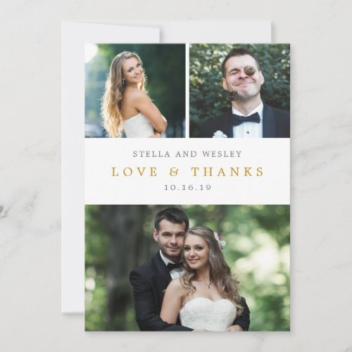 Clean Collage EDITABLE COLOR Photo Thank You Card