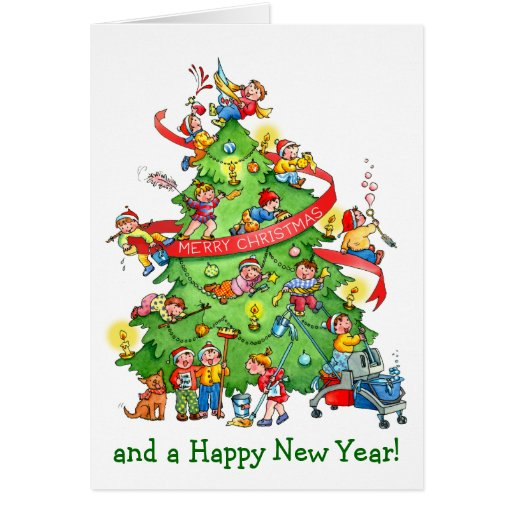 Cleaning The Christmas Tree Holidays Greeting Card Zazzle