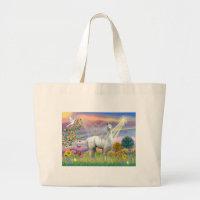 Cloud Angel and Llama Large Tote Bag