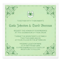 Clover horseshoe green St Patrick's day wedding Invitations