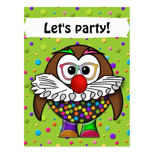 clown owl postcard
