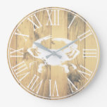 Coastal White Crab & Faux Wood Planks Large Clock