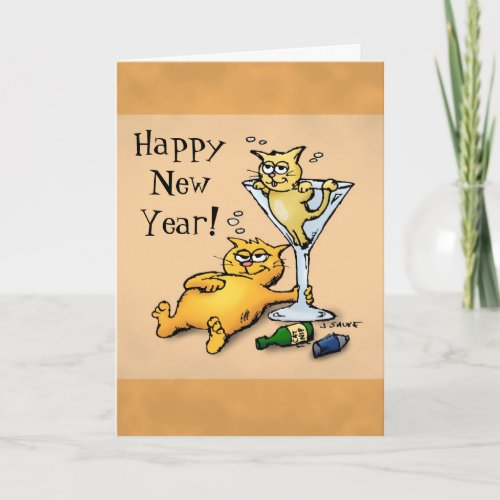 Cocktails and Kittens Happy New Year Cartoon Card