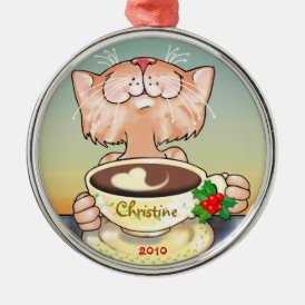 Coffe Loving Tabbby Metal Ornament