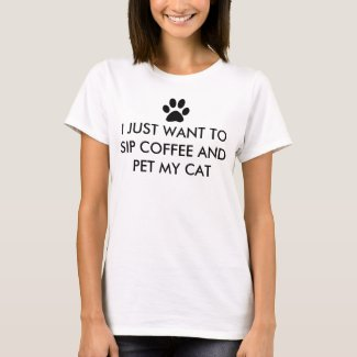 Coffee and My Cat Slogan T-Shirt