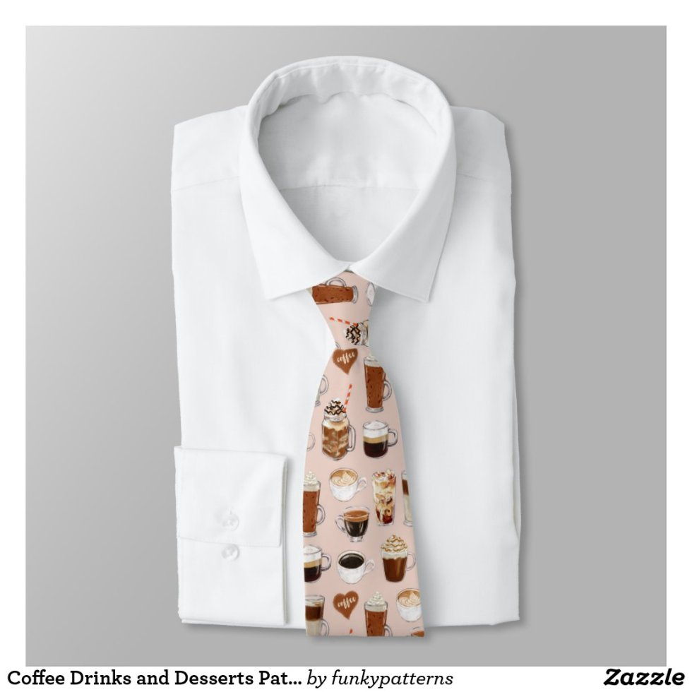 Coffee Drinks and Desserts Pattern Tie