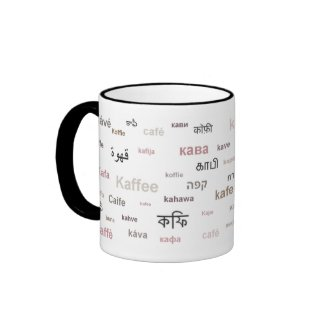 Coffee in different languages (brown) mug