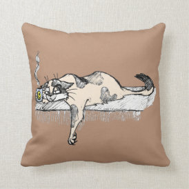 "Coffee Kitty is NOT a morning cat *ahem* ""person""! Throw Pillow"