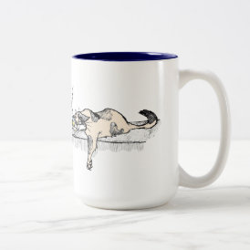 "Coffee Kitty is NOT a morning cat *ahem* ""person""! Two-Tone Coffee Mug"