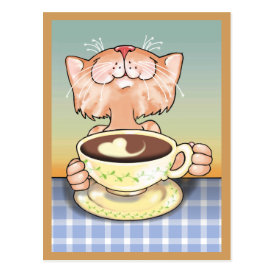 Coffee Loving Tabby Artcard Postcard