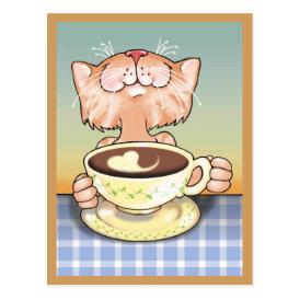 Coffee Loving Tabby Artcard Postcard