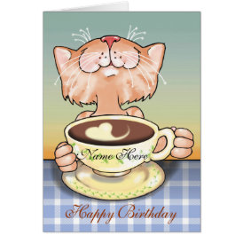 Coffee Loving Tabby blank card