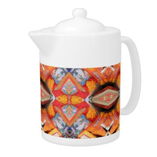 COFFEE POT with Orange geometric pattern. teapot